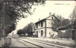 Postcard Warmeriville Marne, La Gare, Bahnhof, Gleisseite