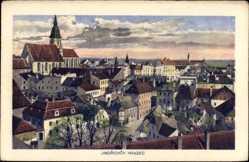 Postcard Jindřichův Hradec Neuhaus Südböhmen, Totalansicht der Stadt, Kirche
