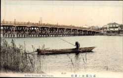Postcard Kyoto Präf. Kyoto Japan, Setano Karahashi, Fischerboot, Holzbrücke