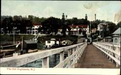 Postcard New Jersey USA, The Old Highlands, Steg am Hafen