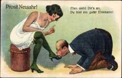 Ak Glückwunsch Neujahr, Füße Küssen, Strümpfe, Beine, Guter Ehemann