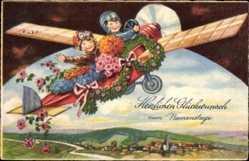 Postcard Glückwunsch Namenstag, Flugzeug, Monoplan, Blumen, Kitsch