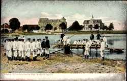 Ak Sächsische Pioniere beim Brückenschlagen, Brückenbau