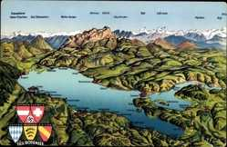 Landkarten Ak Der Bodensee, Österreich, Schweiz, Deutschland