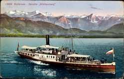 Postcard Bodenseedampfer Württemberg in Fahrt, Alpenkamm