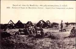 Postcard Griechenland, Scenes et Types de Macedoine, Aspect d'un Campement en plaine