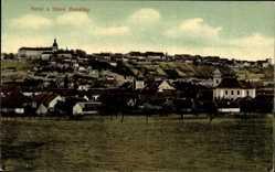 Postcard Benatky nad Jizerou Mittelböhmen, Nove a Stare, Totalansicht der Ortschaft