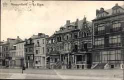 Postcard Nieuport Bains Westflandern Belgien, La Digue, Straßenpartie, Häuser