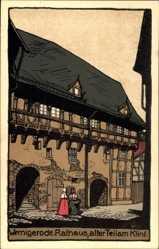 Steindruck Ak Wernigerode Sachsen Anhalt, Rathaus, alter Teil am Klint