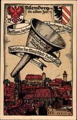 Steindruck Wappen Ak Nürnberg, Teilansicht mit Nürnberger Trichter und Banner