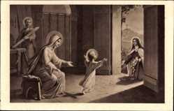 Künstler Ak Ste Thérèse de l'Enfant Jésus jetant des fleurs