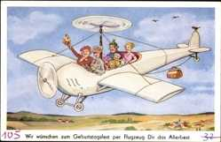 Künstler Ak Glückwunsch Geburtstag, Flugzeug mit Hubschrauberrotor