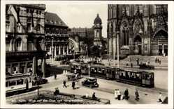 Postcard Köln am Rhein, Blick auf den Dom und Hauptbahnhof, Straßenbahn