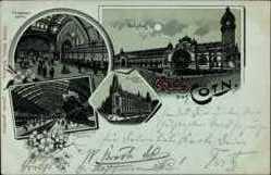 Mondschein Litho Köln am Rhein, Eingangshalle, Bahnhof, Innenansicht,Post
