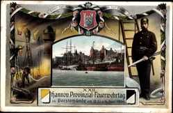 Passepartout Ak Geestemünde Bremerhaven, XXII. Feuerwehrtag 1909