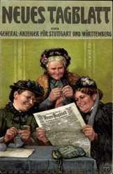 Zeitungs Litho Drei Frauen lesen das Neue Tagblatt, Frau strickt