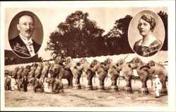 Postcard Zirkus Krone, Direktor Carl Krone, Frau Eda Krone, Elefanten