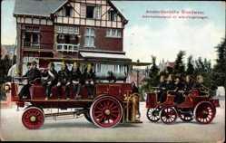 Postcard Amsterdam Nordholland, Blick auf Feuerwehrauto und Wohnhaus