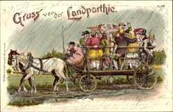 Litho Landpartie, Landfahrt mit der Pferdekutsche, Regen, Pferde