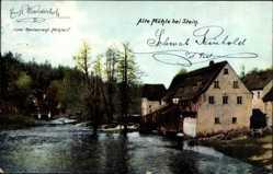 Ak Stein Eger Erlau Ungarn, Blick auf die alte Mühle, Flusspartie, Zieher