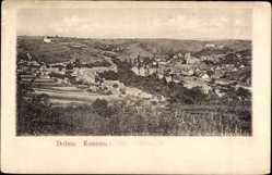 Postcard Dolnie Kounice Südmähren, Totalansicht der Ortschaft, Felder, Kirche