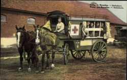 Postcard Camp de Beverloo Flandern Limburg Belgien, Ambulance, Pferd, Soldaten