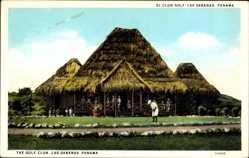 Ak Las Sabanas Panama, The Golf Club, Golsfpieler, Strohhütten