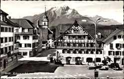 Postcard Küssnacht Kt. Schwyz Schweiz, Rigi mit Pilatus, Hotel Engel, Goethestube