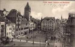 Postcard Bâle Basel Stadt Schweiz, Blick auf Rathaus und Marktplatz