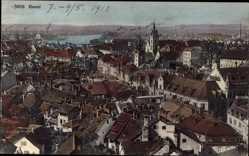 Postcard Bâle Basel Stadt Schweiz, Blick auf den Ort, Kirchturm, Gewässer