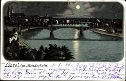 Mondschein Litho Bâle Basel Stadt Schweiz, Flusspartie, Blick auf den Ort