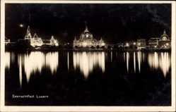 Ak Luzern Stadt Schweiz, Seenachfest, Nachtansicht, Seepartie, Beleuchtung