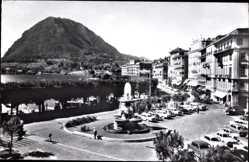 Postcard Lugano Kt. Tessin Schweiz, Quai, Fontana Bossi e Monte S. Salvatore