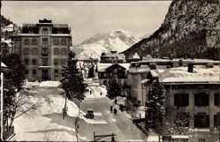 Postcard Pontresina Kt. Graubünden Schweiz, Straßenpartie im Winter, Berg