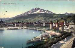 Postcard Luzern Stadt Schweiz, Blick auf den Ort mit Pilatus, Salondampfer