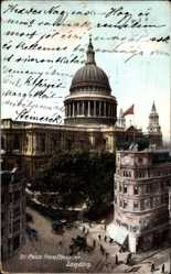 Postcard London City, View of St. Pauls Cathedral from Cheapside