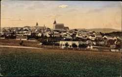 Postcard Jihlava Iglau Region Hochland, Totalansicht der Ortschaft, Kirche