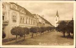 Postcard Sedlec na dr. Wilsonove Sedlec Prčice Mittelböhmen, Platz, Kirche