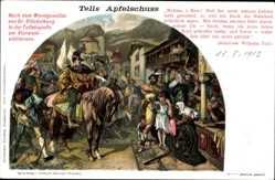 Künstler Ak Stückelberg, Tells Apfelschuss, Tellskapelle Vierwaldstättersee