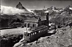 Postcard Zermatt Kt. Wallis Schweiz, Gornergratbahn Station, Matterhorn, Zahnradbahn