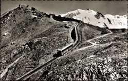 Postcard Kt. Wallis Schweiz, Gornergrat mit Monterosa, Gornergratbahn, Zahnradbahn