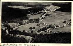 Postcard Elend Oberharz am Brocken, Totalansicht der Ortschaft, Fliegeraufnahme