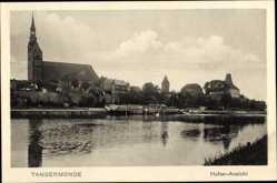 Postcard Tangermünde in Sachsen Anhalt, Hafen Ansicht, Blick auf den Ort