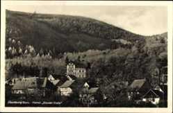 Postcard Ilsenburg am Nordharz, Blick auf den Ort und das Hotel Blauer Stein