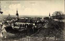 Postcard Herbolzheim, Totalansicht der Ortschaft, Kirche, Häuser, Gärten