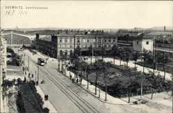 Postcard Chemnitz Sachsen, Blick auf den Hauptbahnhof, Straßenbahn, Ottmar Zieher