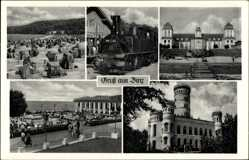 Postcard Binz auf Rügen, Lokomotive 99 542, Strand, Promenade