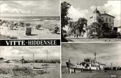 Postcard Vitte Insel Hiddensee in der Ostsee, FDGB Heim Zur Ostsee, Fährschiff Binz