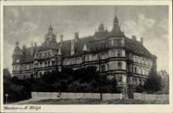 Postcard Güstrow im Kreis Rostock, Blick auf das Schloss, Fassade, Gartenzaun