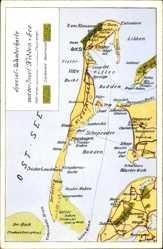 Postcard Insel Hiddensee in der Ostsee, Wanderkarte, Ostsee, Bodden, Libben, Strom